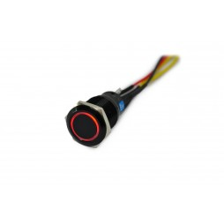 Black Vandal Switch - 19mm - Red LED